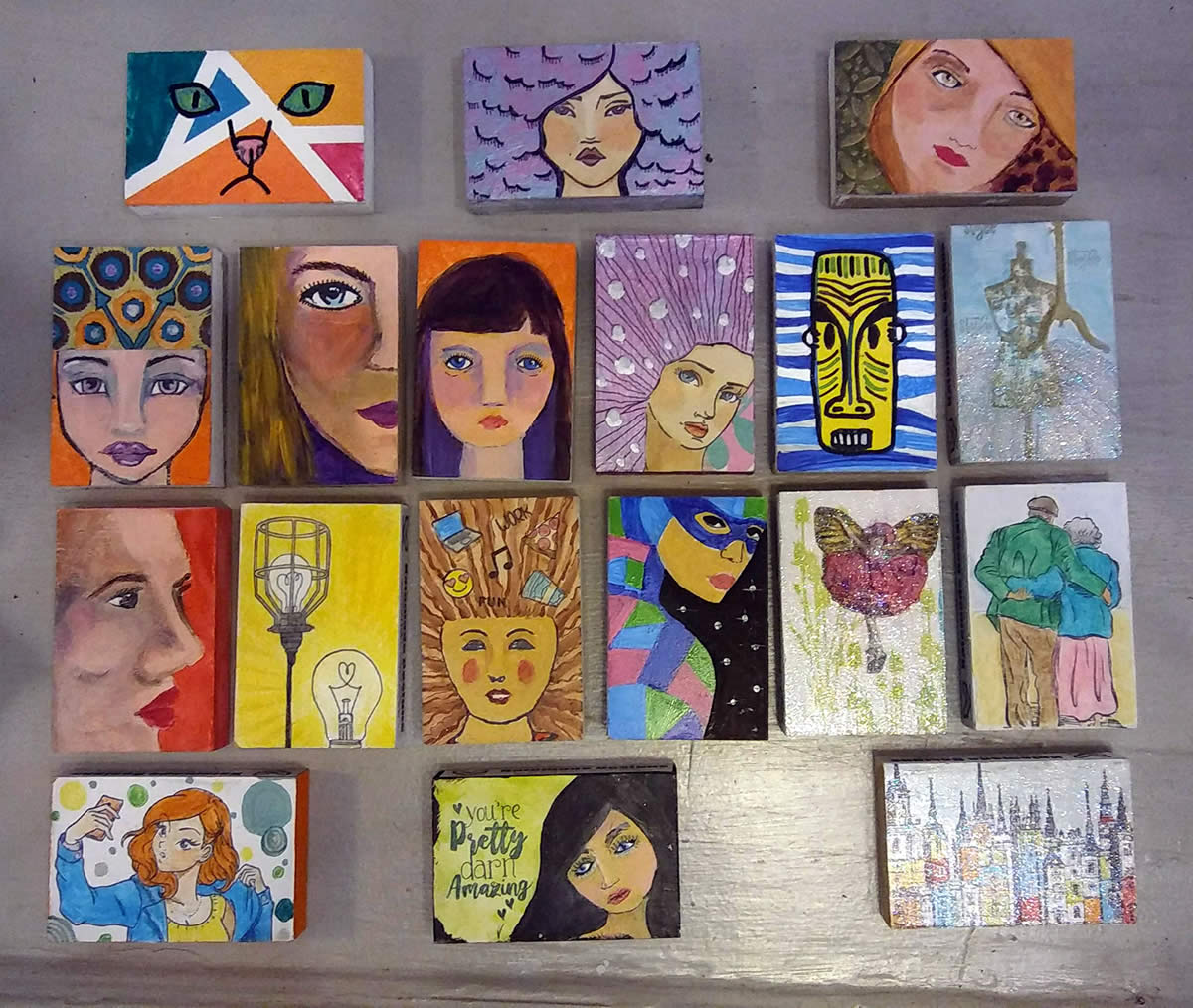 Quirky Inspired Art Blocks by Kate Bolinger