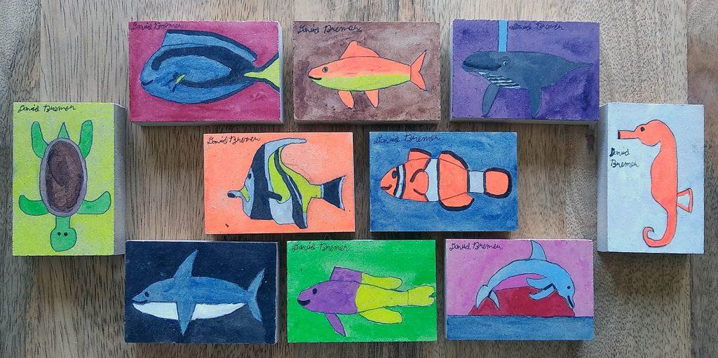 Ocean Animal Art Blocks by David Bremer