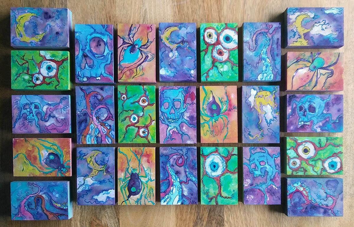 Tiny Spooky Art Blocks by Michelle Rutkowski