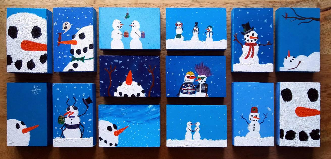 New 'Snowpeople' art blocks by Brad Weber
